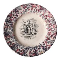 """The First Nibble"" A Child's Plate from the Victorian Era"