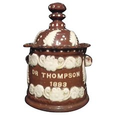 Pottery Tobacco Jar with Applied Decoration