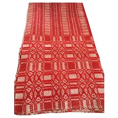 Hand Woven Antique Red Coverlet