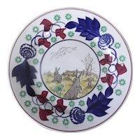 Stick Spatter Rabbitware Plate, Circa Late 19th Century