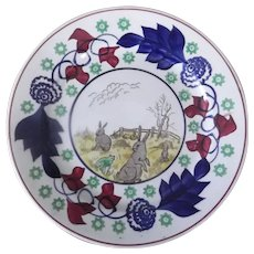 Stick Spatter Rabbitware Plate, Circa Late 19th Century