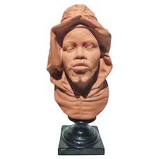 FREE SHIPPING 19th Century Victorian Terracotta Bust North Berber Man Restored