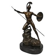 FREE SHIPPING 20th Century Art Deco Style Sculpture Figure Bronze Mars God of War or Achilles
