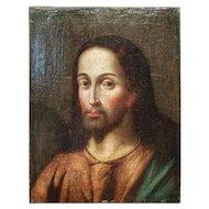 FREE SHIPPING 17th Century Oil on Canvas Jesus Christ Portrait