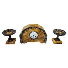 FREE SHIPPING Early 20th Century Art Deco Portoro and Siena Marble Mantel Clock