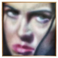 FREE SHIPPING 21st Century Modern Acrylic on Canvas Woman Face Painting