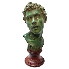 Early 20th Century Bronze and Red San Marco Marble Large Augustus Bust by Louis Moreau