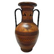 FREE SHIPPING 20th Century Greek Style Ceramic Hand Painted Vase Amphora