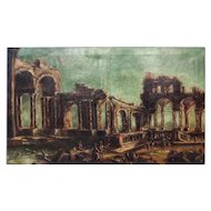FREE SHIPPING 18th Century Large Oil on Canvas Ruins Restored