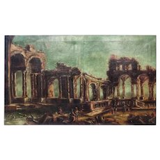 18th Century Large Oil on Canvas Ruins Restored