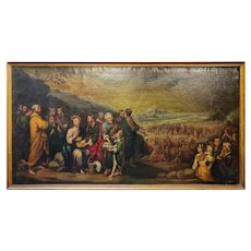 19th Century Large Oil on Canvas Copy of Murillo Feeding the Multitude Scene