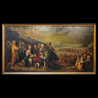 19th Century Large Oil on Canvas Copy of Murillo Feeding the Multitude Scene