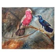 FREE SHIPPING Manuel de Azpiroz (1903-1953) Early 20th Century Art Deco Oil on Canvas Birds Signed Azpiroz