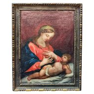 FREE SHIPPING Late 17th Century Baroque Oil on Canvas the Virgin and Jesus