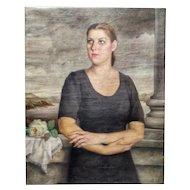 FREE SHIPPING Manuel de Azpiroz (1903-1953) Early 20th Century Art Deco Oil on Canvas Portrait Virgin Bride Signed