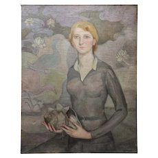 Early 20th Century Art Deco Oil on Canvas Young Woman Signed