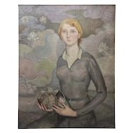 FREE SHIPPING Manuel de Azpiroz (1903-1953) Early 20th Century Art Deco Oil on Canvas Young Woman Signed