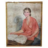 FREE SHIPPING Manuel de Azpiroz (1903-1953) Early 20th Century Art Deco Oil on Canvas Young Woman Reading
