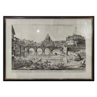 FREE SHIPPING Late 19th Century Rome Landscape View from the Bridge and Castel Sant'Angelo