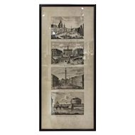 FREE SHIPPING Late 19th Century Four Different Views of Rome Print