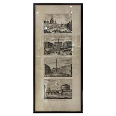 Late 19th Century Four Different Views of Rome Print