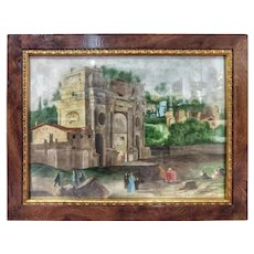 Late 19th Century Watercolor Landscape Arch Imperial Forums in Rome Signed