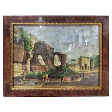 Late 19th Century Watercolor Landscape Daily Life Imperial Forums in Rome Signed
