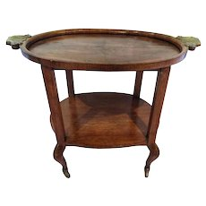 Early 20th Century Art Deco Walnut Root with Wheels Servin Table RESTORED