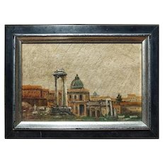 Early 20th Century Oil on Wood Roman Forum Landscape Small Painting