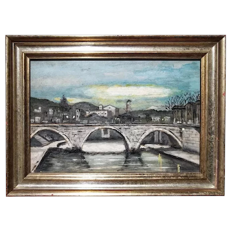 Early 20th Century Oil on Wood Rome at Sunset Landscape Small Painting