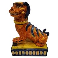 FREE SHIPPING Late 19th Century Chinoiserie Ceramic Hand Painted Foo Dog
