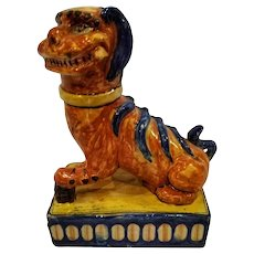 Late 19th Century Chinoiserie Ceramic Hand Painted Foo Dog