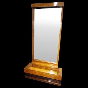 Early 20th Century Art Deco Lemon Wood and Palisander Floor Mirror