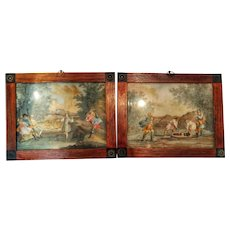 Pair of 18th Century Oil on Glass Joseph is Imprisoned by His Brothers