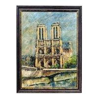 E. Obrecht Oil On Canvas Notre Dame De Paris 20th Century
