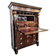 FREE SHIPPING Early 19th Century Empire Flame Mahogany and Black Marble French Secretaire