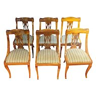 FREE SHIPPING Set of six 19th Century Napoleon III Walnut French Gondola Chairs RESTORED