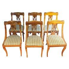 Set of six 19th Century Napoleon III Walnut French Gondola Chairs Restored