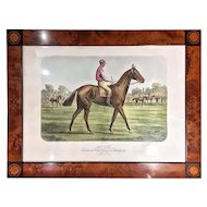 FREE SHIPPING 19th Century Walnut Root Inlaid Frame Colored by Hand French Print Signed