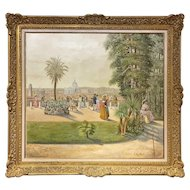 FREE SHIPPING 19th Century Oil Painting on Canvas Rome Landscape from Villa Medici Signed