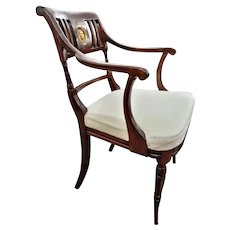 Pair of Late 18th Century Directoire Mahogany Armchairs Restored