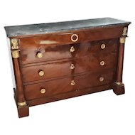 Early 19th Century Empire Flame Mahogany and Marble French Chest of Drawer