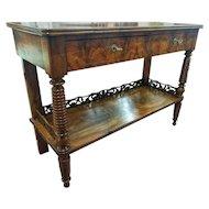 19th Century Regency Flame Walnut English Console Table RESTORED