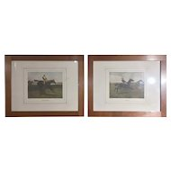 FREE SHIPPING 19th Century Pair of English Prints Horse Riding Walnut Frame by A C Havell