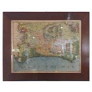 FREE SHIPPING 19th Century Italian Print Region of Rome Walnut Frame