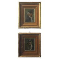 FREE SHIPPING Pair of 19th Century Small English Paintings Sailor Men