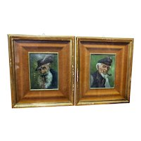 Pair Of Portraits Oil On Copper 19th Century