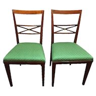FREE SHIPPING Pair of Early 20th Century Louis XVI Walnut Italian Chairs