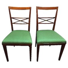 Pair of Early 20th Century Louis XVI Walnut Italian Chairs