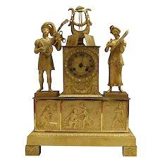 FREE SHIPPING 19th Century Gilded Bronze Ormolu Mantel Clock Air du Troubadour
